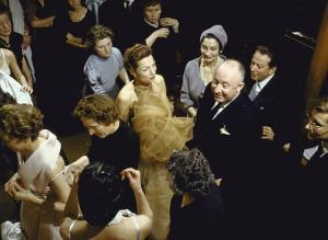 Fashion Designer Christian Dior with Staff at Rehearsal for New Collection Showing by Loomis Dean