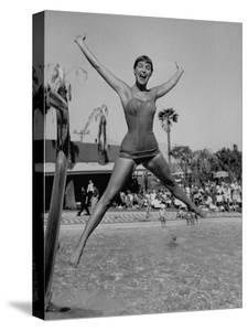 Las Vegas Chorus Girl Kim Smith at the Swimming Pool in the Sands Hotel by Loomis Dean