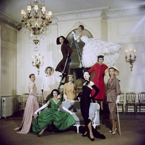 Models Posing in New Christian Dior Collection by Loomis Dean