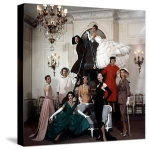 Models Wearing Latest Dress Designs from Christian Dior by Loomis Dean