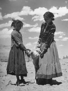 Native American Indian Children Playing with Ram by Loomis Dean