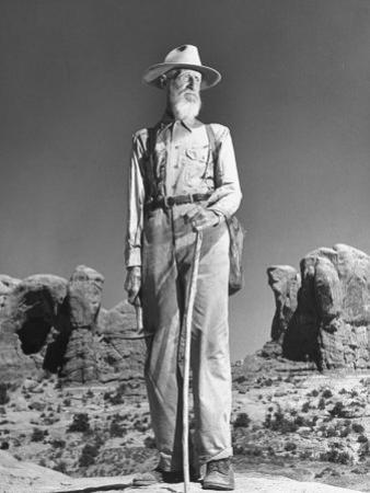 Old Man with White Beard and Staff Standing in Desert