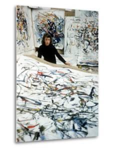 Portrait of American Born Painter Joan Mitchell in Her Studio by Loomis Dean