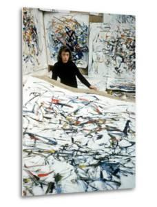 Portrait of American Born Painter Joan Mitchell in Her Studio by Loomis Dean