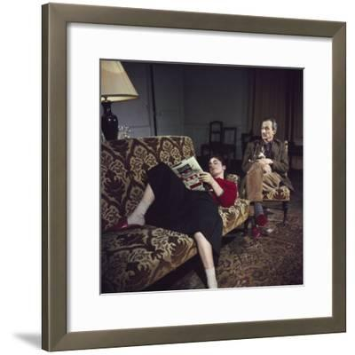 Portrait of Painter Balthus and His Niece Frederique Tison at the Chateau De Chassy