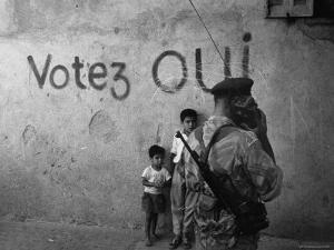 Pro French Constitution Sign on an Algerian Wall by Loomis Dean