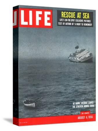 Rescue at Sea, Lifeboat Leaving Sinking Ship Andrea Doria, August 6, 1956
