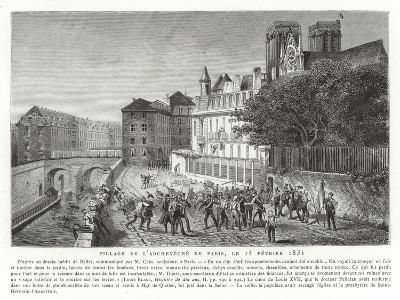 Looting of the Palace of the Archbishop of Paris, 15 February 1831--Giclee Print