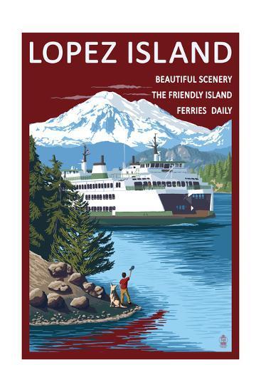 Lopez Island, Washington - Ferry and Boy-Lantern Press-Art Print