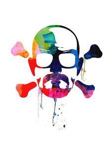 Walter Skull Watercolor by Lora Feldman