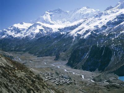View Over Manang, Gangapurna Mountains, Himalayas, Nepal