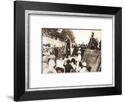 Lord Balfour speaking at the Hebrew University, Jerusalem, Palestine, 1927-Topical Press Agency-Framed Photographic Print