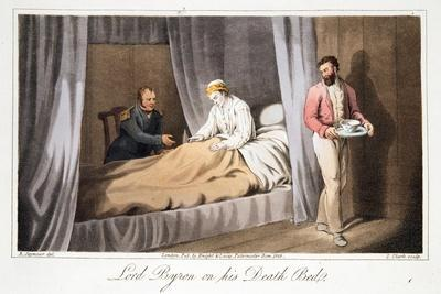 Lord Byron on His Death Bed, from the Last Days of Lord Byron by William Parry, Pub. 1825-Robert Seymour-Giclee Print