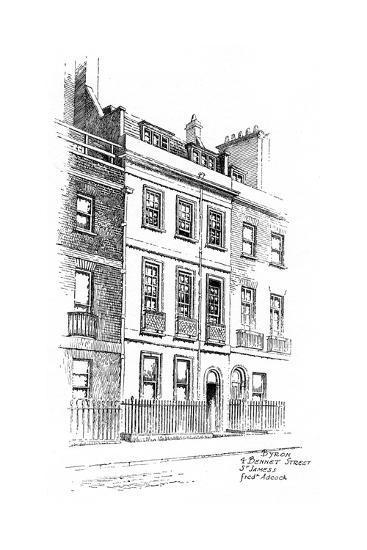 Lord Byron's House, 4 Bennet Street, St James, London, 1912-Frederick Adcock-Giclee Print