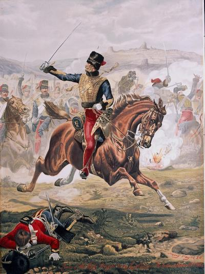 Lord Cardigan (1797-1868) Leading the Charge of the Light Brigade at the Battle of Balaklava,…-Henry A^ Payne-Giclee Print
