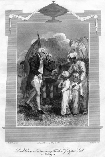 Lord Cornwallis (1738-180) Receiving the Sons of Tippoo Saib as Hostages, 1816-I Brown-Giclee Print