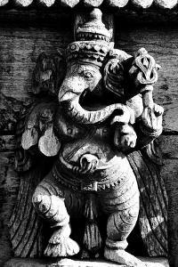 Lord Ganesh Wooden Sculpture, Mysore Temple, Karnataka, India, 1985