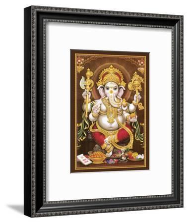 Lord Ganesha - Hindu Elephant Headed Deity - God of Wisdom, Knowledge and New Beginnings--Framed Art Print