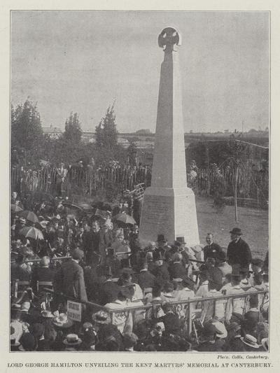 Lord George Hamilton Unveiling the Kent Martyrs' Memorial at Canterbury--Giclee Print