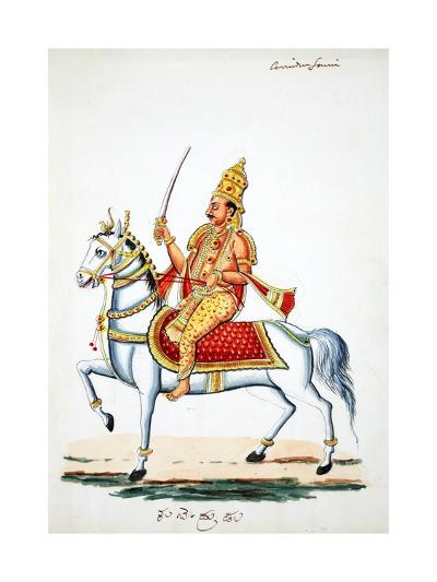 Lord Kalki on His Horse Devadatta with Sword in Hand--Giclee Print