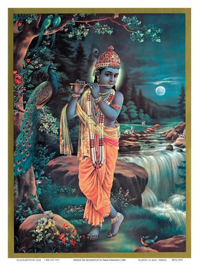 Lord Krishna The Enchanter - God of Love Playing his Flute--Art Print