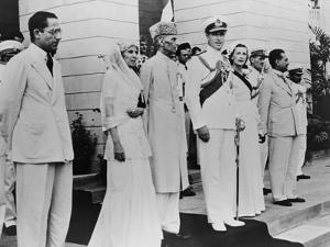 Lord Louis Mountbatten Handing over Power to Mahomed Ali Jinnah on Aug. 14, 1947