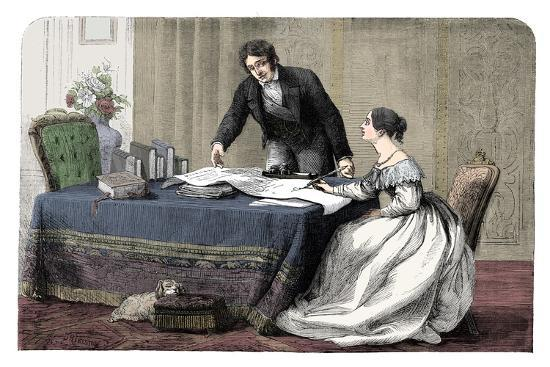 Lord Melbourne (1779-1848) instructing a young Queen Victoria 1819-1901), 1837 (c1895)-Unknown-Giclee Print