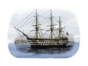 """Lord Nelson's Ship HMS """"Victory"""" in Portsmouth Harbor, 1800s"""