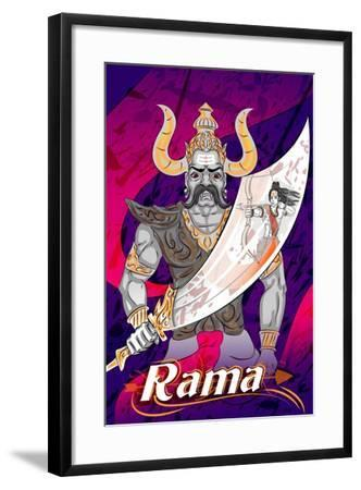 Lord Rama with Demon Ravana in Happy Dussehra Navratri Celebration India Holiday Background. Vector- Vecton-Framed Art Print