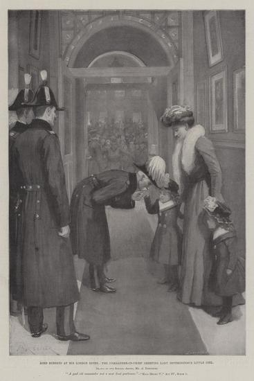 Lord Roberts in His London Hotel, the Commander-In-Chief Greeting Lady Settrington's Little Girl-Amedee Forestier-Giclee Print