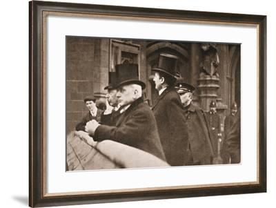 Lord Rosebery and Other Members of Both Houses Watching the Suffragettes Struggle--Framed Photographic Print