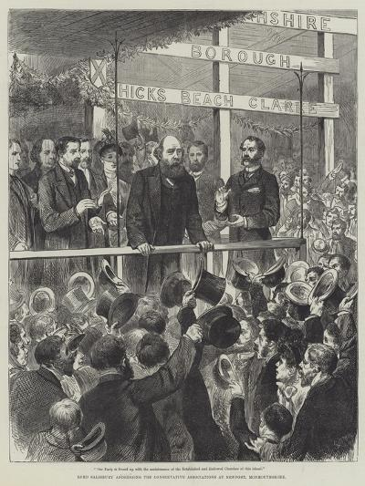 Lord Salisbury Addressing the Conservative Associations at Newport, Monmouthshire--Giclee Print