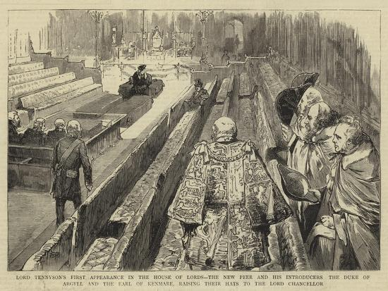 Lord Tennyson's First Appearance in the House of Lords--Giclee Print
