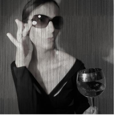 Loren with Wine-NaxArt-Art Print