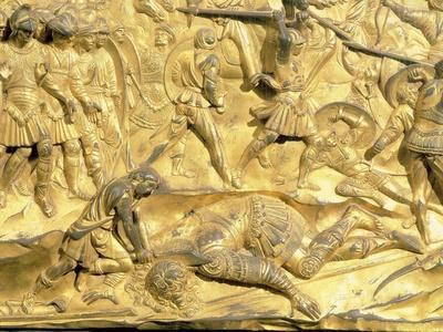 David and Goliath Detail from the Original Panel from the East Doors of the Baptistery 1425-52 · Lorenzo Ghiberti & Beautiful Lorenzo Ghiberti Collections artwork for sale Posters and ...