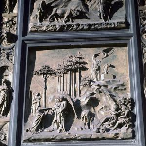 Detail of the doors of Paradise showing Abraham and Isaac, 15th century by Lorenzo Ghiberti