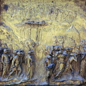 Detail of the doors of Paradise showing the Israelites at Jericho, 15th century by Lorenzo Ghiberti