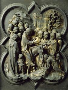 Triumphal Entry of Christ into Jerusalem, Gilded Bronze Panel by Lorenzo Ghiberti