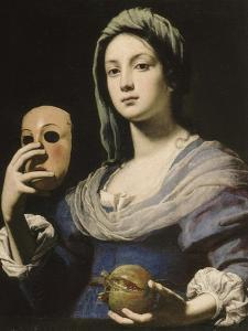 Allégorie de la Simulation : femme tenant un masque et une grenade by Lorenzo Lippi