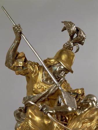 Silver and Gilded Bronze Saint George and the Princess, Late 1600
