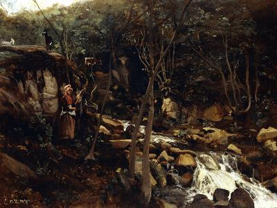 Lormes - a Torrent with a Standing Peasant, Spinning Wool, 1842-Jean-Baptiste-Camille Corot-Giclee Print