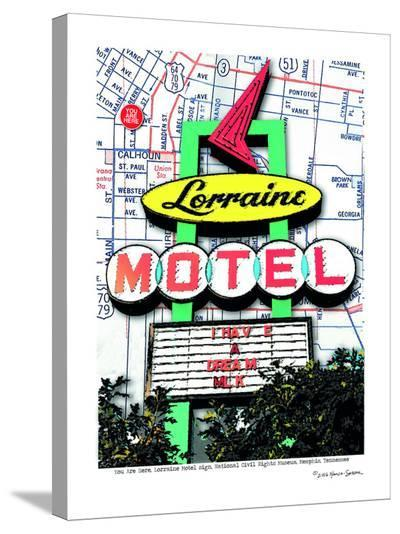 Lorraine Motel Sign--Stretched Canvas Print