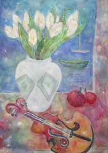 Violin with Flowers by Lorraine Platt