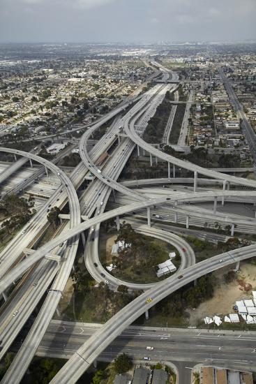 Los Angeles, Aerial of Judge Harry Pregerson Interchange and Highway-David Wall-Photographic Print