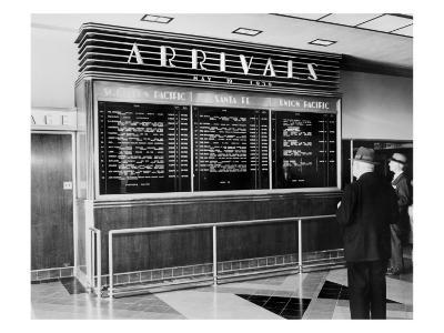 Los Angeles, Arrival Board at Union Station, Los Angeles, California, May 19, 1939--Photo