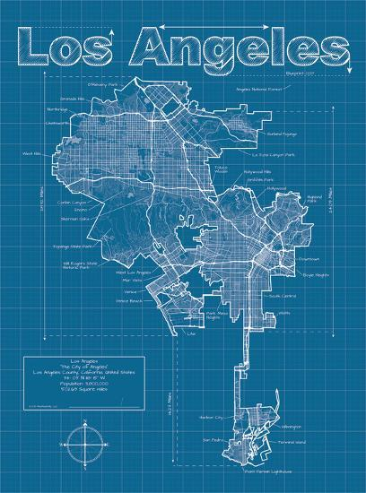 Los Angeles Artistic Blueprint Map-Christopher Estes-Art Print