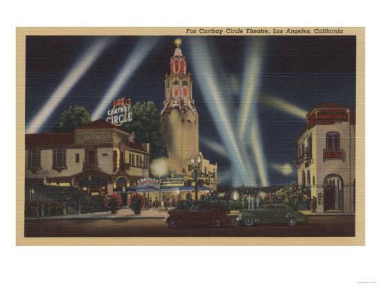 Los Angeles, CA - Fox Carthay Circle Theatre View-Lantern Press-Art Print