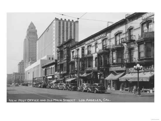 Los Angeles, CA Post Office and Old Main Street Photograph - Los Angeles, CA-Lantern Press-Art Print