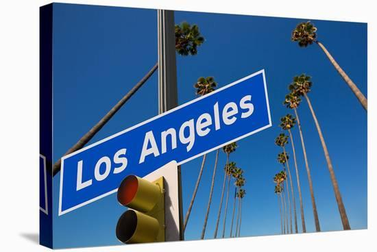 Los Angeles CA Road Sign--Stretched Canvas Print