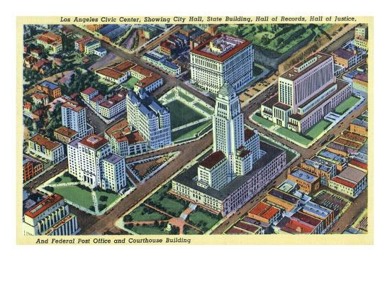Los Angeles, California - Aerial View of the Civic Center and Buildings-Lantern Press-Art Print